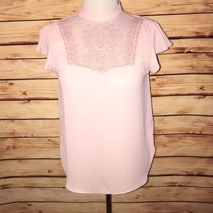 Express Pink High Neck Lacy Crochet Blouse
